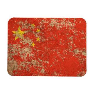 Bandera envejecida áspera del chino del vintage imán de vinilo