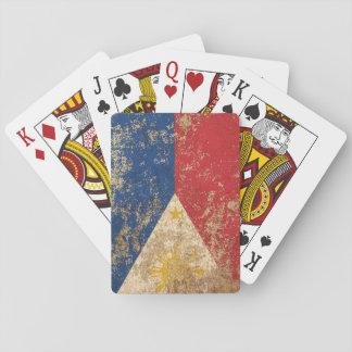 Bandera envejecida áspera del filipino del vintage barajas de cartas