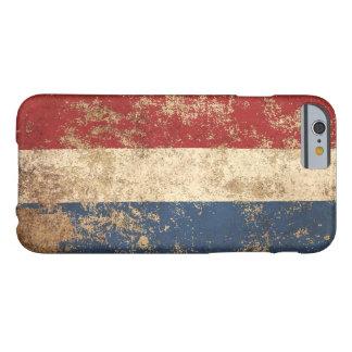 Bandera envejecida áspera del holandés del vintage funda de iPhone 6 barely there