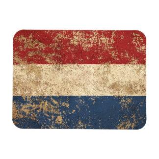 Bandera envejecida áspera del holandés del vintage imanes de vinilo