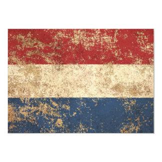 """Bandera envejecida áspera del holandés del vintage invitación 5"""" x 7"""""""