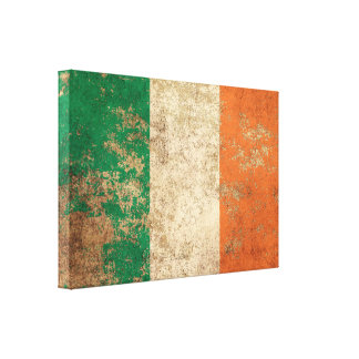 Bandera envejecida áspera del irlandés del vintage impresión en lona estirada