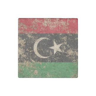 Bandera envejecida áspera del libio del vintage imán de piedra