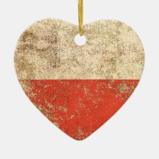 Bandera envejecida áspera del polaco del vintage adorno navideño de cerámica en forma de corazón