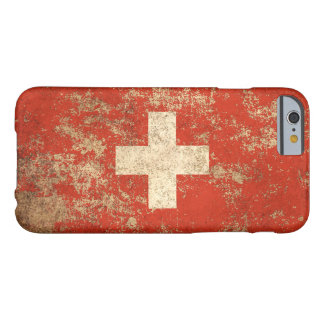 Bandera envejecida áspera del suizo del vintage funda de iPhone 6 barely there