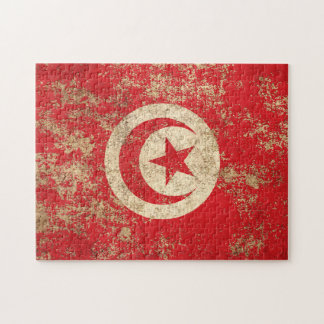Bandera envejecida áspera del tunecino del vintage rompecabezas