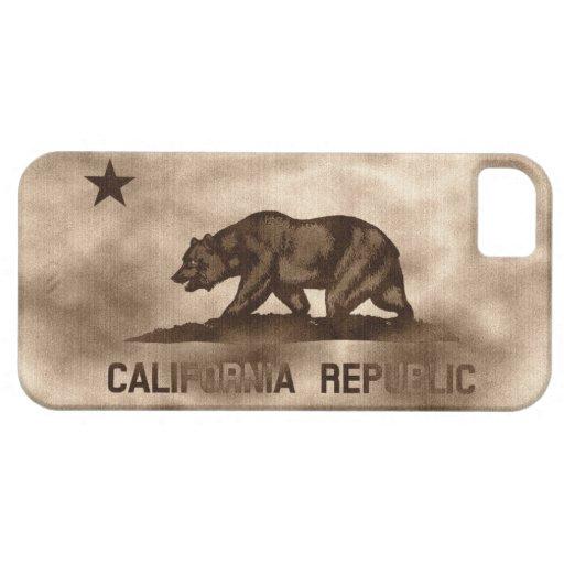 Bandera envejecida de California iPhone 5 Carcasas
