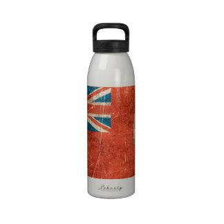 Bandera envejecida y rasguñada del vintage de botella de agua reutilizable