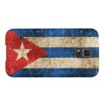 Bandera envejecida y rasguñada del vintage de Cuba Fundas Para Galaxy S5