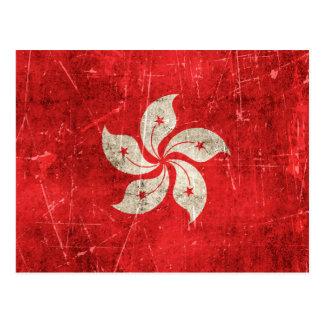 Bandera envejecida y rasguñada del vintage de Hong Postales