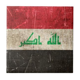 Bandera envejecida y rasguñada del vintage de Iraq Teja