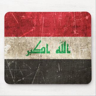 Bandera envejecida y rasguñada del vintage de Iraq Alfombrilla De Ratón