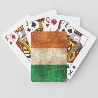 Bandera envejecida y rasguñada del vintage de baraja de cartas