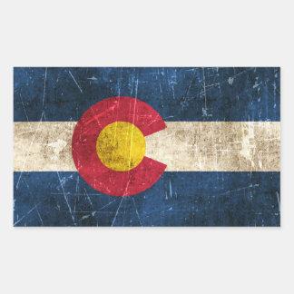 Bandera envejecida y rasguñada del vintage de pegatina rectangular