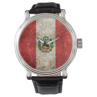 Bandera envejecida y rasguñada del vintage de Perú Relojes