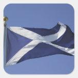 Bandera escocesa calcomanía cuadradas