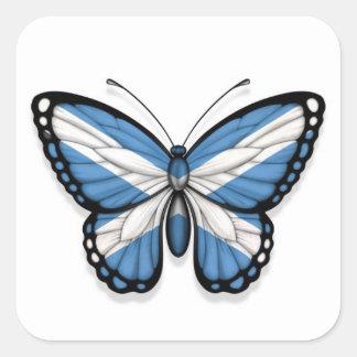 Bandera escocesa de la mariposa calcomanías cuadradas personalizadas