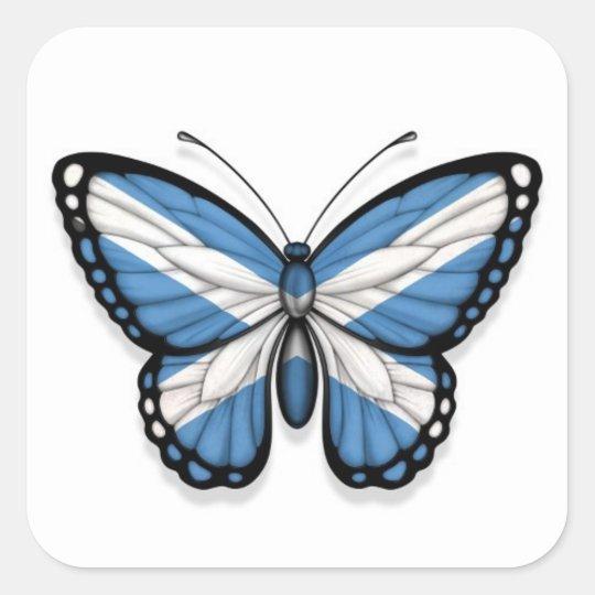Bandera escocesa de la mariposa pegatina cuadrada