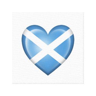 Bandera escocesa del corazón en blanco lienzo envuelto para galerias