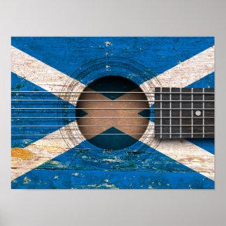 Bandera escocesa en la guitarra acústica vieja impresiones