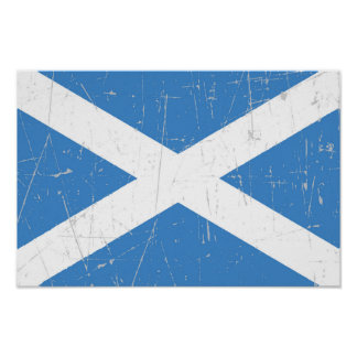 Bandera escocesa rascada y rasguñada posters