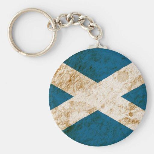 Bandera escocesa rugosa llavero redondo tipo pin