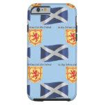 Bandera, escudo y lema de Escocia Funda De iPhone 6 Tough