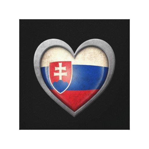 Bandera eslovaca del corazón con efecto del metal lona estirada galerias