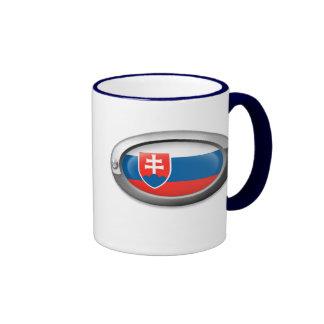 Bandera eslovaca en el marco de acero taza de café