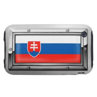 Bandera eslovaca en un marco de acero carcasa resistente para iPhone