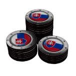 Bandera eslovaca industrial con el gráfico de acer fichas de póquer