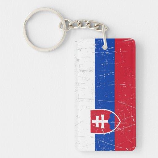 Bandera eslovaca rascada y rasguñada llaveros
