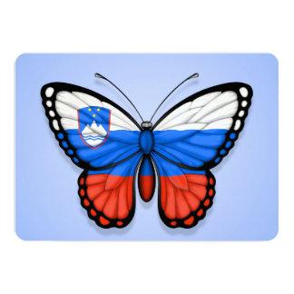 """Bandera eslovena de la mariposa en azul invitación 5"""" x 7"""""""