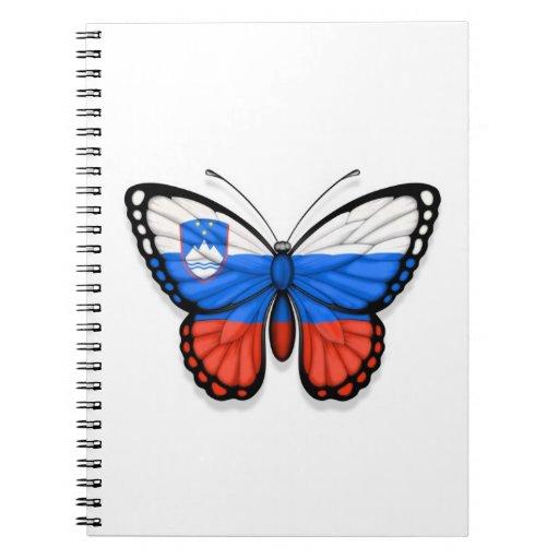 Bandera eslovena de la mariposa libros de apuntes