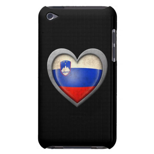 Bandera eslovena del corazón con efecto del metal iPod touch Case-Mate cobertura