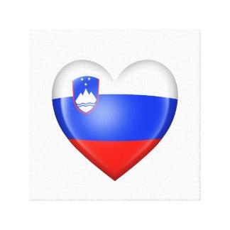 Bandera eslovena del corazón en blanco impresiones en lienzo estiradas