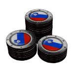 Bandera eslovena industrial con el gráfico de acer juego de fichas de póquer
