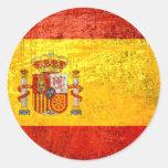 Bandera España Bandeira de España del Grunge 2012 Pegatina Redonda