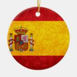 Bandera española adorno navideño redondo de cerámica