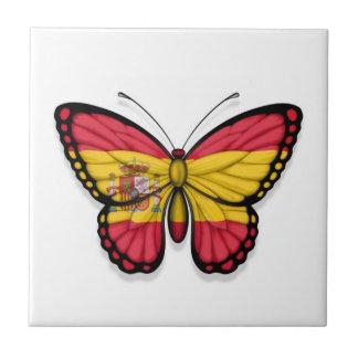 Bandera española de la mariposa azulejo ceramica