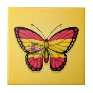 Bandera española de la mariposa en amarillo azulejos cerámicos