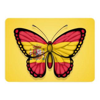 """Bandera española de la mariposa en amarillo invitación 5"""" x 7"""""""
