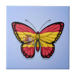 Bandera española de la mariposa en azul azulejos ceramicos