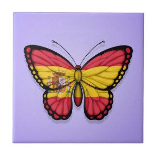 Bandera española de la mariposa en púrpura tejas  ceramicas