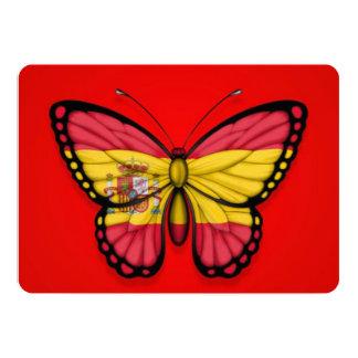 """Bandera española de la mariposa en rojo invitación 5"""" x 7"""""""