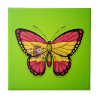 Bandera española de la mariposa en verde azulejos
