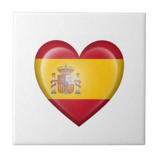 Bandera española del corazón en blanco tejas  ceramicas