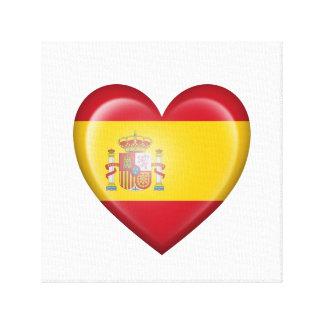 Bandera española del corazón en blanco lona estirada galerías