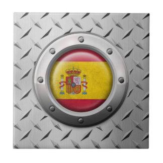 Bandera española industrial con el gráfico de acer tejas  cerámicas