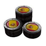 Bandera española industrial con el gráfico de acer juego de fichas de póquer